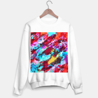 Miniatur psychedelic geometric pattern painting abstract background in blue red yellow pink Sweater regular, Live Heroes