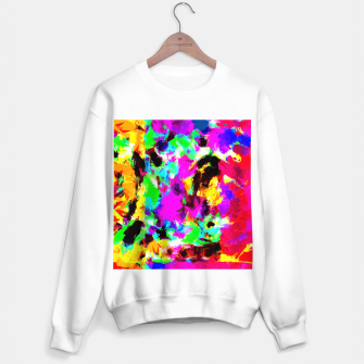 Miniatur psychedelic geometric pattern painting abstract background in pink red blue green yellow orange Sweater regular, Live Heroes