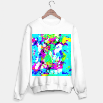 Miniatur psychedelic geometric pattern painting abstract background in blue green pink yellow Sweater regular, Live Heroes