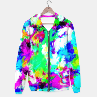 Miniaturka psychedelic geometric pattern painting abstract background in blue green pink yellow Hoodie, Live Heroes