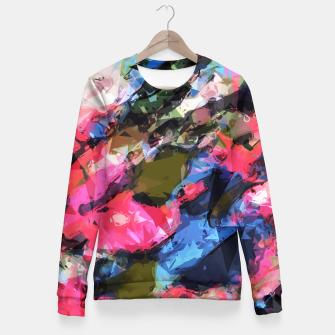 Miniatur psychedelic geometric pattern painting abstract background in pink blue green Fitted Waist Sweater, Live Heroes