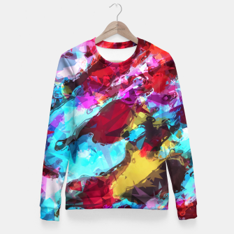 Miniatur psychedelic geometric pattern painting abstract background in blue red yellow pink Fitted Waist Sweater, Live Heroes