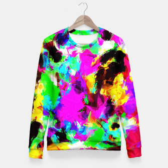 Miniatur psychedelic geometric pattern painting abstract background in pink red blue green yellow orange Fitted Waist Sweater, Live Heroes