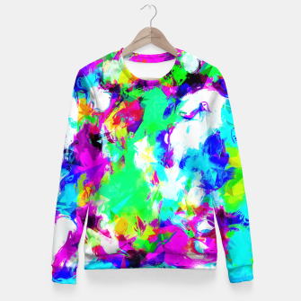 Miniatur psychedelic geometric pattern painting abstract background in blue green pink yellow Fitted Waist Sweater, Live Heroes