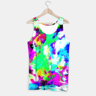 Imagen en miniatura de psychedelic geometric pattern painting abstract background in blue green pink yellow Tank Top, Live Heroes