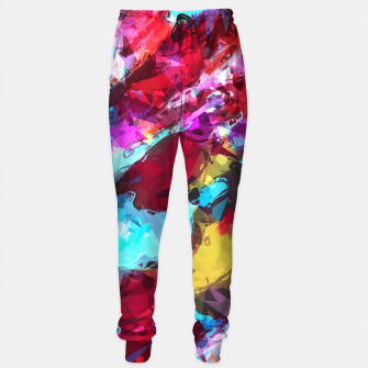 Miniaturka psychedelic geometric pattern painting abstract background in blue red yellow pink Sweatpants, Live Heroes