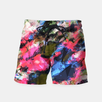 Miniaturka psychedelic geometric pattern painting abstract background in pink blue green Swim Shorts, Live Heroes