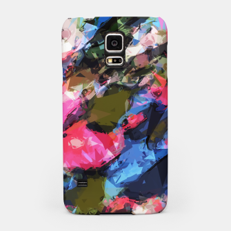 Miniatur psychedelic geometric pattern painting abstract background in pink blue green Samsung Case, Live Heroes
