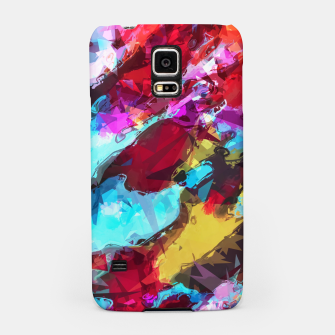 Miniatur psychedelic geometric pattern painting abstract background in blue red yellow pink Samsung Case, Live Heroes