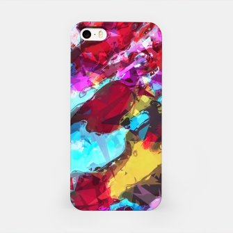 Thumbnail image of psychedelic geometric pattern painting abstract background in blue red yellow pink iPhone Case, Live Heroes