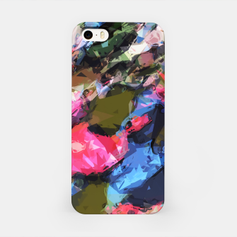 Thumbnail image of psychedelic geometric pattern painting abstract background in pink blue green iPhone Case, Live Heroes
