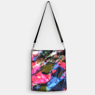 Miniatur psychedelic geometric pattern painting abstract background in pink blue green Handbag, Live Heroes