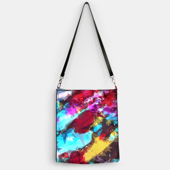 Miniatur psychedelic geometric pattern painting abstract background in blue red yellow pink Handbag, Live Heroes