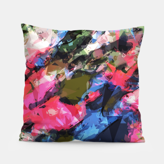 Miniatur psychedelic geometric pattern painting abstract background in pink blue green Pillow, Live Heroes