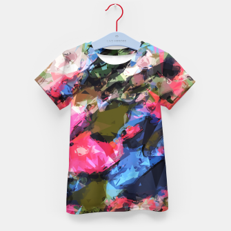 Miniatur psychedelic geometric pattern painting abstract background in pink blue green Kid's T-shirt, Live Heroes