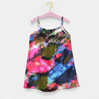 Miniatur psychedelic geometric pattern painting abstract background in pink blue green Girl's Dress, Live Heroes