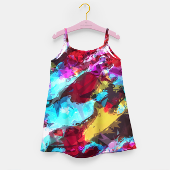 Miniatur psychedelic geometric pattern painting abstract background in blue red yellow pink Girl's Dress, Live Heroes