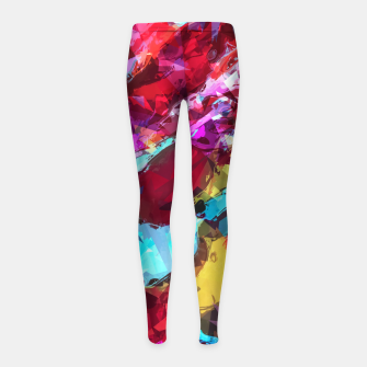 Miniatur psychedelic geometric pattern painting abstract background in blue red yellow pink Girl's Leggings, Live Heroes