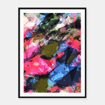 Miniatur psychedelic geometric pattern painting abstract background in pink blue green Framed poster, Live Heroes