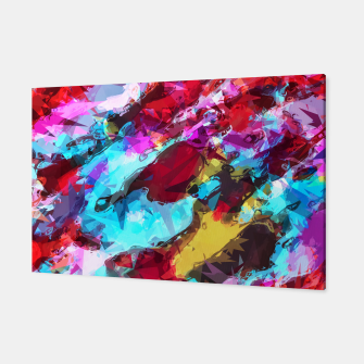 Miniatur psychedelic geometric pattern painting abstract background in blue red yellow pink Canvas, Live Heroes