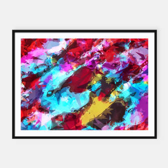 Miniatur psychedelic geometric pattern painting abstract background in blue red yellow pink Framed poster, Live Heroes