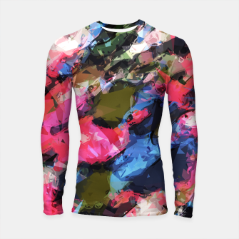 Thumbnail image of psychedelic geometric pattern painting abstract background in pink blue green Longsleeve Rashguard , Live Heroes