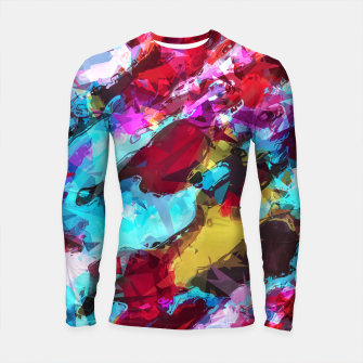 Thumbnail image of psychedelic geometric pattern painting abstract background in blue red yellow pink Longsleeve Rashguard , Live Heroes