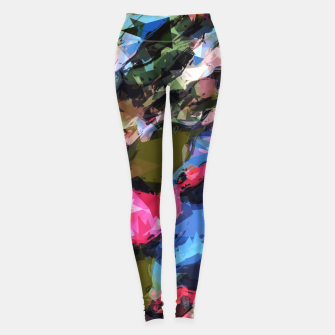 Thumbnail image of psychedelic geometric pattern painting abstract background in pink blue green Leggings, Live Heroes