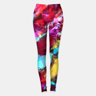 Thumbnail image of psychedelic geometric pattern painting abstract background in blue red yellow pink Leggings, Live Heroes