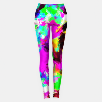 Miniaturka psychedelic geometric pattern painting abstract background in pink red blue green yellow orange Leggings, Live Heroes
