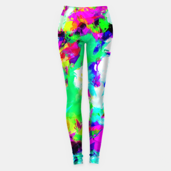 Miniaturka psychedelic geometric pattern painting abstract background in blue green pink yellow Leggings, Live Heroes