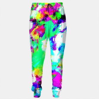 Miniaturka psychedelic geometric pattern painting abstract background in blue green pink yellow Sweatpants, Live Heroes