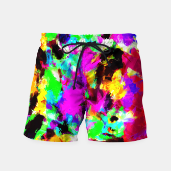 Miniaturka psychedelic geometric pattern painting abstract background in pink red blue green yellow orange Swim Shorts, Live Heroes