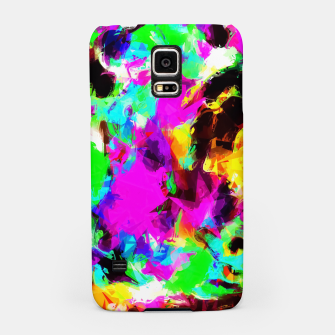 Miniatur psychedelic geometric pattern painting abstract background in pink red blue green yellow orange Samsung Case, Live Heroes