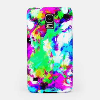 Miniatur psychedelic geometric pattern painting abstract background in blue green pink yellow Samsung Case, Live Heroes