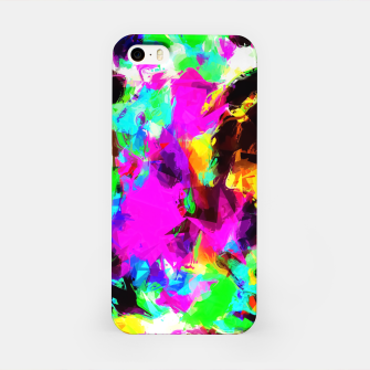 Thumbnail image of psychedelic geometric pattern painting abstract background in pink red blue green yellow orange iPhone Case, Live Heroes