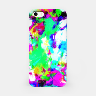 Miniaturka psychedelic geometric pattern painting abstract background in blue green pink yellow iPhone Case, Live Heroes