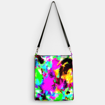 Miniatur psychedelic geometric pattern painting abstract background in pink red blue green yellow orange Handbag, Live Heroes