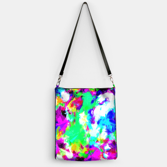 Miniatur psychedelic geometric pattern painting abstract background in blue green pink yellow Handbag, Live Heroes