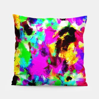 Miniatur psychedelic geometric pattern painting abstract background in pink red blue green yellow orange Pillow, Live Heroes
