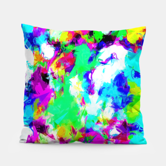 Miniatur psychedelic geometric pattern painting abstract background in blue green pink yellow Pillow, Live Heroes