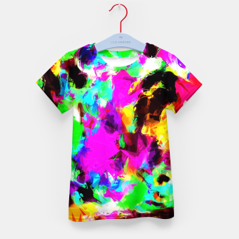 Miniatur psychedelic geometric pattern painting abstract background in pink red blue green yellow orange Kid's T-shirt, Live Heroes