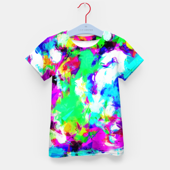 Miniatur psychedelic geometric pattern painting abstract background in blue green pink yellow Kid's T-shirt, Live Heroes