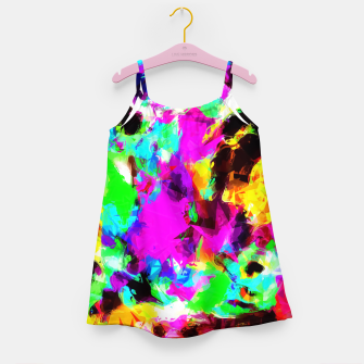 Miniatur psychedelic geometric pattern painting abstract background in pink red blue green yellow orange Girl's Dress, Live Heroes