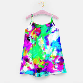 Miniatur psychedelic geometric pattern painting abstract background in blue green pink yellow Girl's Dress, Live Heroes