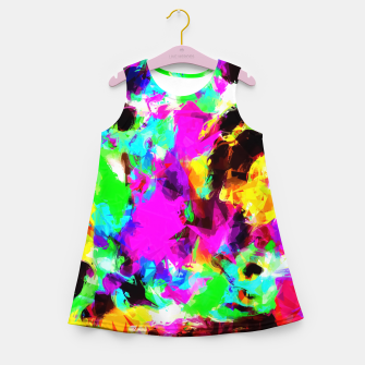 Thumbnail image of psychedelic geometric pattern painting abstract background in pink red blue green yellow orange Girl's Summer Dress, Live Heroes