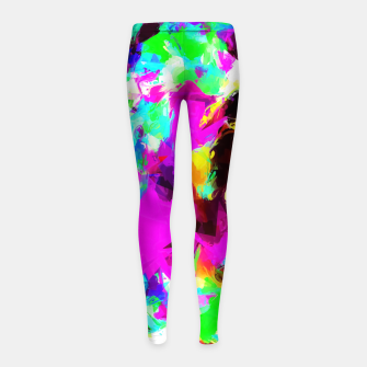 Miniatur psychedelic geometric pattern painting abstract background in pink red blue green yellow orange Girl's Leggings, Live Heroes