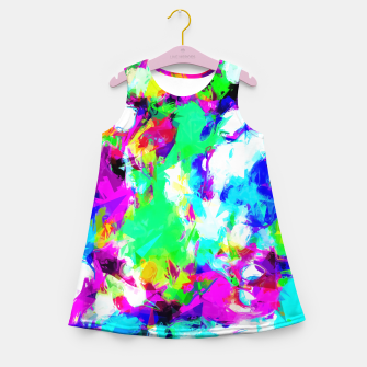 Thumbnail image of psychedelic geometric pattern painting abstract background in blue green pink yellow Girl's Summer Dress, Live Heroes