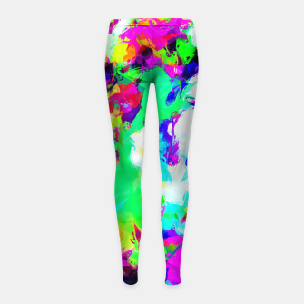 Miniatur psychedelic geometric pattern painting abstract background in blue green pink yellow Girl's Leggings, Live Heroes