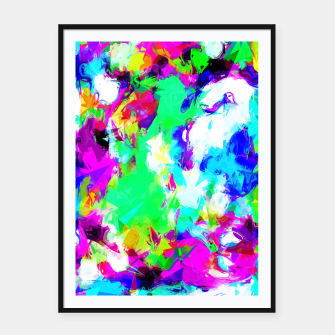 Miniatur psychedelic geometric pattern painting abstract background in blue green pink yellow Framed poster, Live Heroes